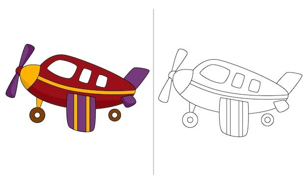 Livro de colorir para crianças ilustração aeronave a pistão