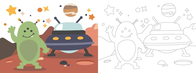 Livro de colorir para crianças ilustração aiien on the planet mars