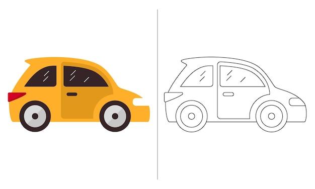 Livro de colorir para crianças ilustração carro hatchback amarelo