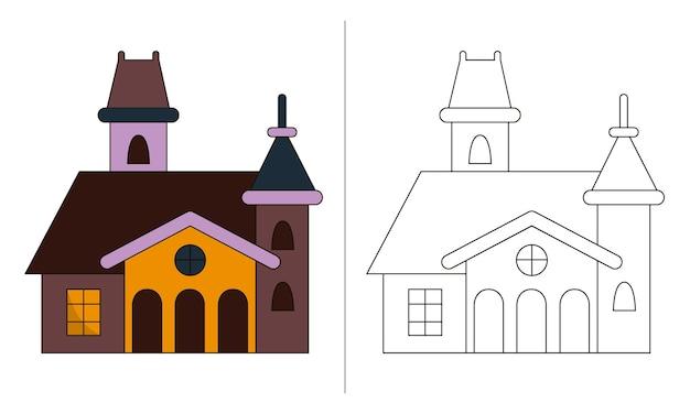 Livro de colorir para crianças, ilustração de bom castelo de halloween