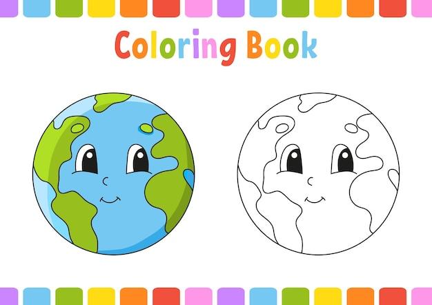 Livro de colorir para crianças ilustração em vetor personagem de desenho animado