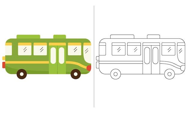 Livro de colorir para crianças ilustração green city bus