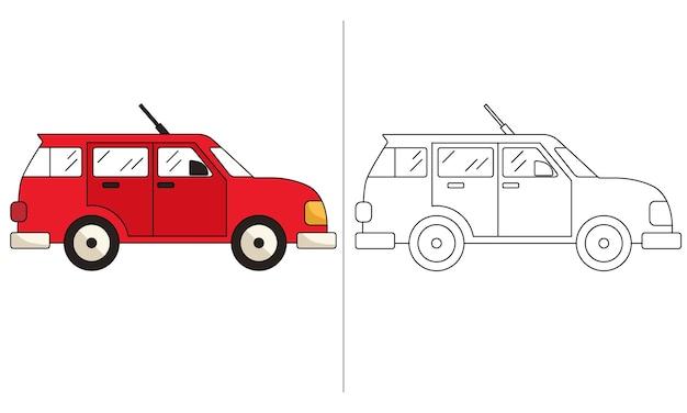 Livro de colorir para crianças ilustração red wagon car