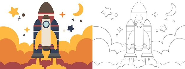 Livro de colorir para crianças ilustração sol e sistema solar