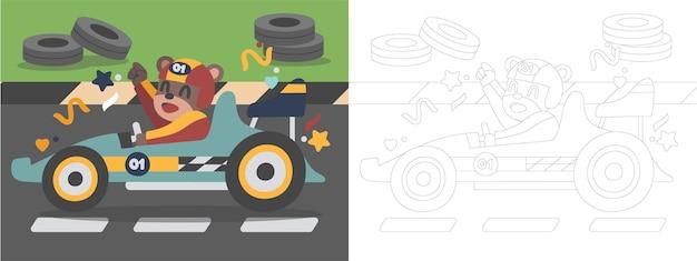 Livro de colorir para crianças ilustração the dog who is racing car