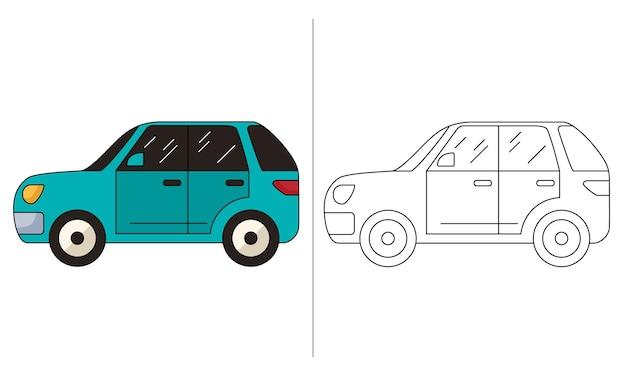 Livro de colorir para crianças ilustração verde hatchback car