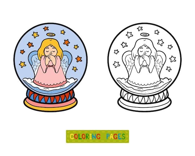 Livro de colorir para crianças, inverno bola de neve com anjo