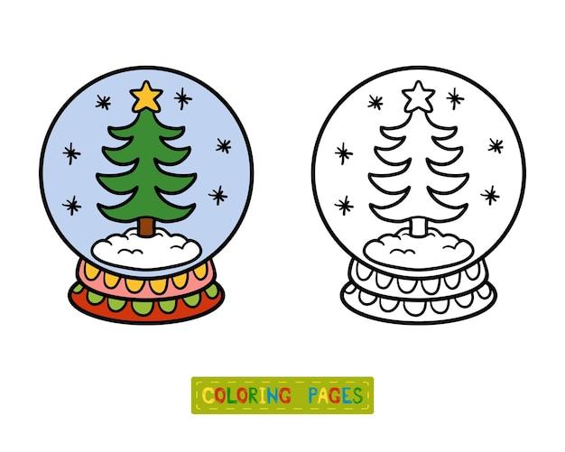Livro de colorir para crianças, inverno bola de neve com árvore de natal