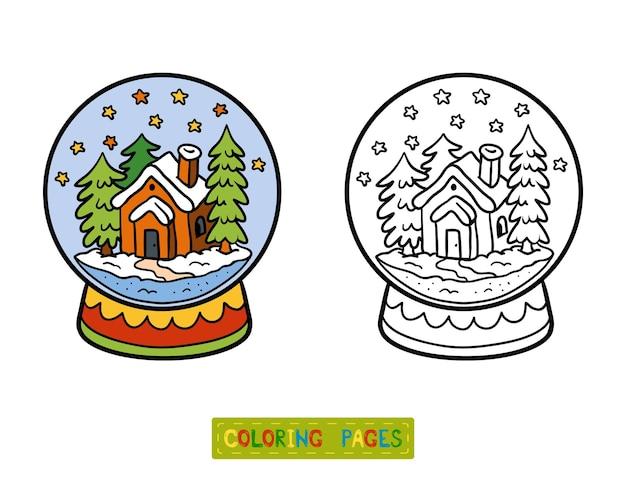 Livro de colorir para crianças, inverno bola de neve com casa