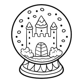 Livro de colorir para crianças, inverno bola de neve com castelo