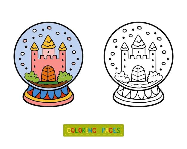 Livro de colorir para crianças, inverno bola de neve com castelo Vetor Premium