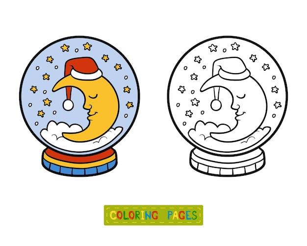 Livro de colorir para crianças, inverno bola de neve com lua