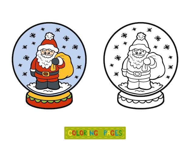 Livro de colorir para crianças, inverno bola de neve com papai noel