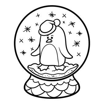 Livro de colorir para crianças, inverno bola de neve com pinguim
