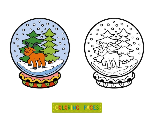 Livro de colorir para crianças, inverno bola de neve com veados