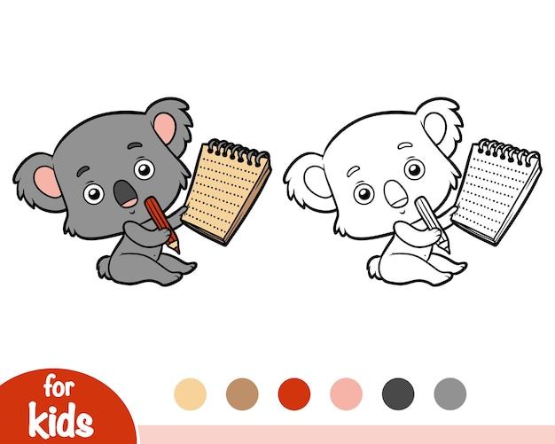 Livro de colorir para crianças, koala