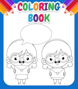 Livro de colorir para crianças. linda garota feliz segurando um envelope com um discurso de balão