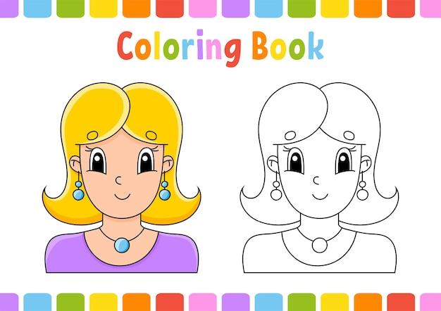 Livro de colorir para crianças, linda garota
