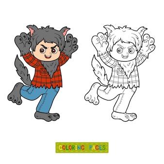 Livro de colorir para crianças, lobisomem