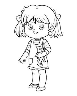 Livro de colorir para crianças, menina com um gato