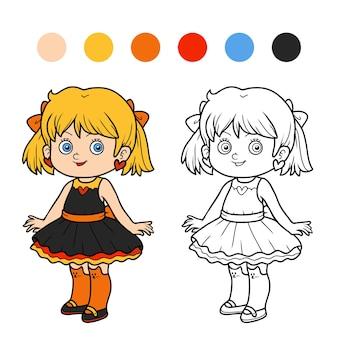Livro de colorir para crianças, menina de vestido
