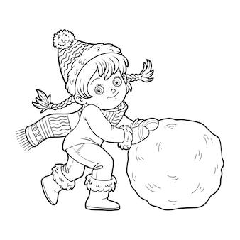 Livro de colorir para crianças, menina e uma bola de neve