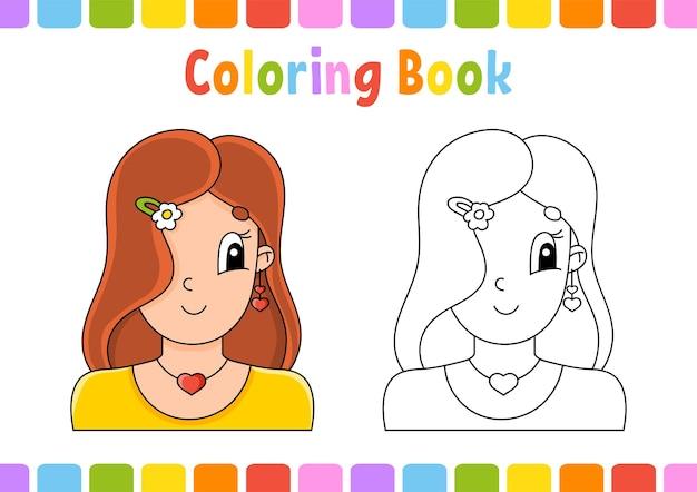 Livro de colorir para crianças, menina feliz