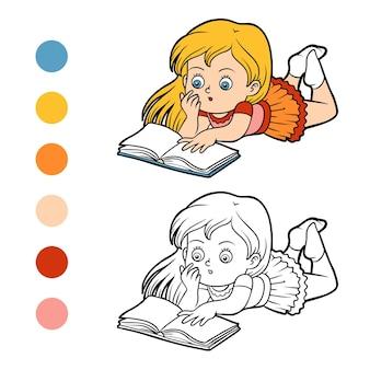 Livro de colorir para crianças, menina lendo um livro