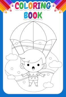Livro de colorir para crianças. menino bonitinho voando com pára-quedas