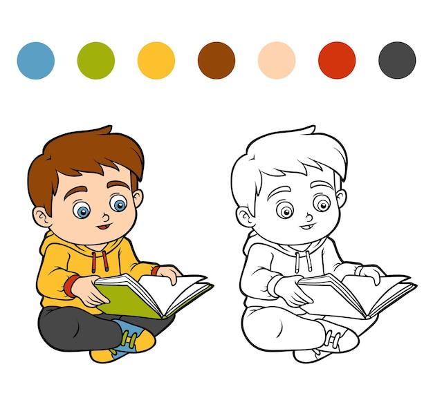 Livro de colorir para crianças, menino lendo um livro