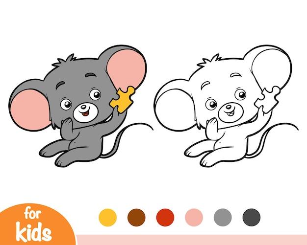 Livro de colorir para crianças, mouse