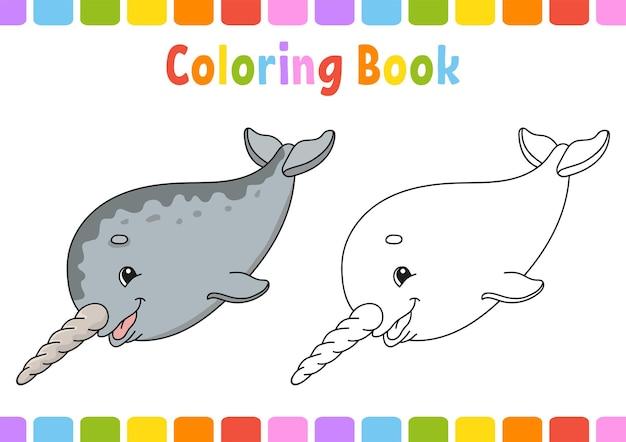 Livro de colorir para crianças narval