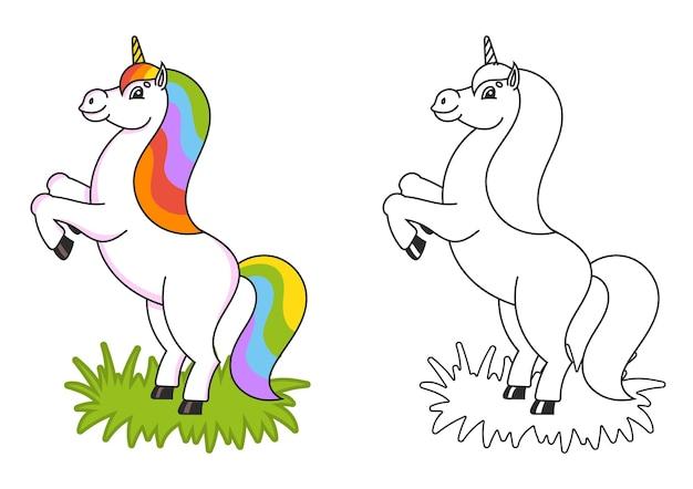 Livro de colorir para crianças o unicórnio mágico se ergue o cavalo animal fica de pé nas patas traseiras