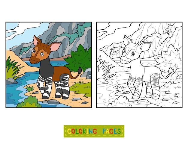 Livro de colorir para crianças, okapi