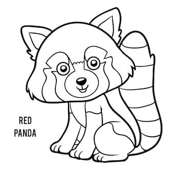 Livro de colorir para crianças, panda vermelho