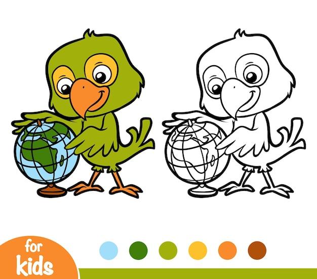 Livro de colorir para crianças, papagaio e globo