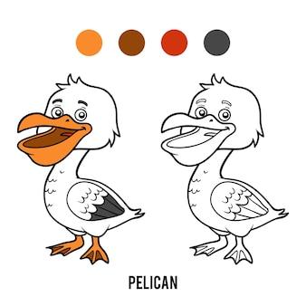 Livro de colorir para crianças, pelican