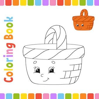 Livro de colorir para crianças. personagem alegre cesta de madeira.