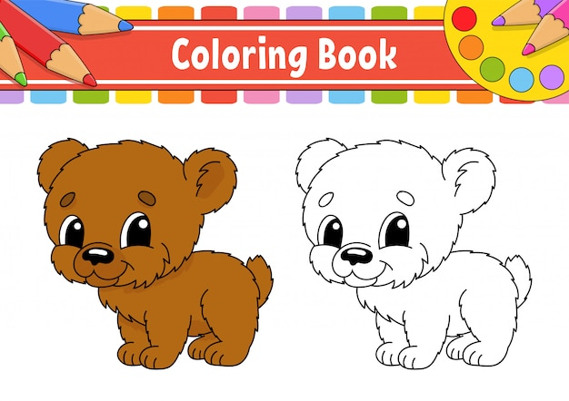Livro de colorir para crianças. personagem alegre ilustração em vetor cor.