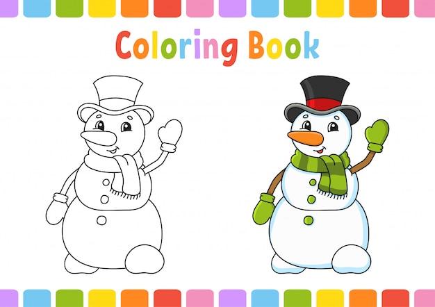 Livro de colorir para crianças. personagem alegre ilustração vetorial