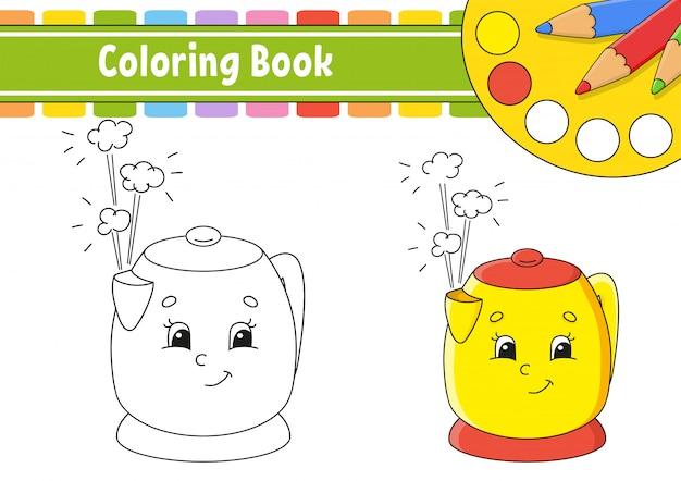 Livro de colorir para crianças. personagem alegre