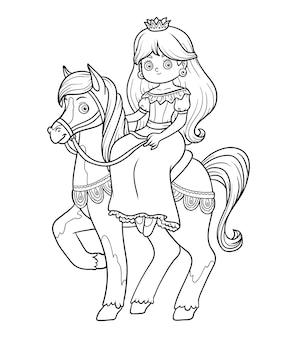 Livro de colorir para crianças, personagem de desenho animado, princesa com cavalo