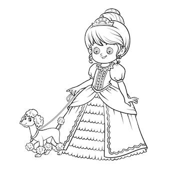 Livro de colorir para crianças, personagem de desenho animado, princesa com poodle