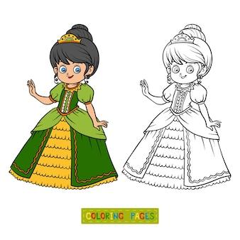 Livro de colorir para crianças, personagem de desenho animado, princesa