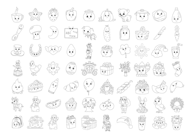 Livro de colorir para crianças personagens alegres