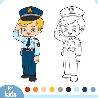 Livro de colorir para crianças, policial
