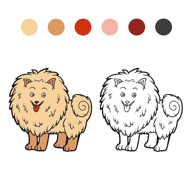 Livro de colorir para crianças raças de cães pomerânia