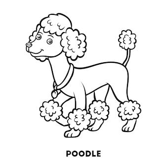 Livro de colorir para crianças raças de cães poodle