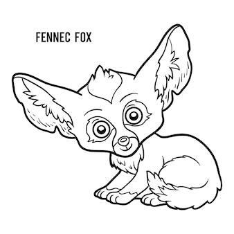 Livro de colorir para crianças, raposa fennec
