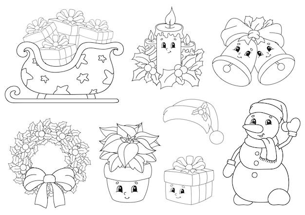 Livro de colorir para crianças tema do feliz natal